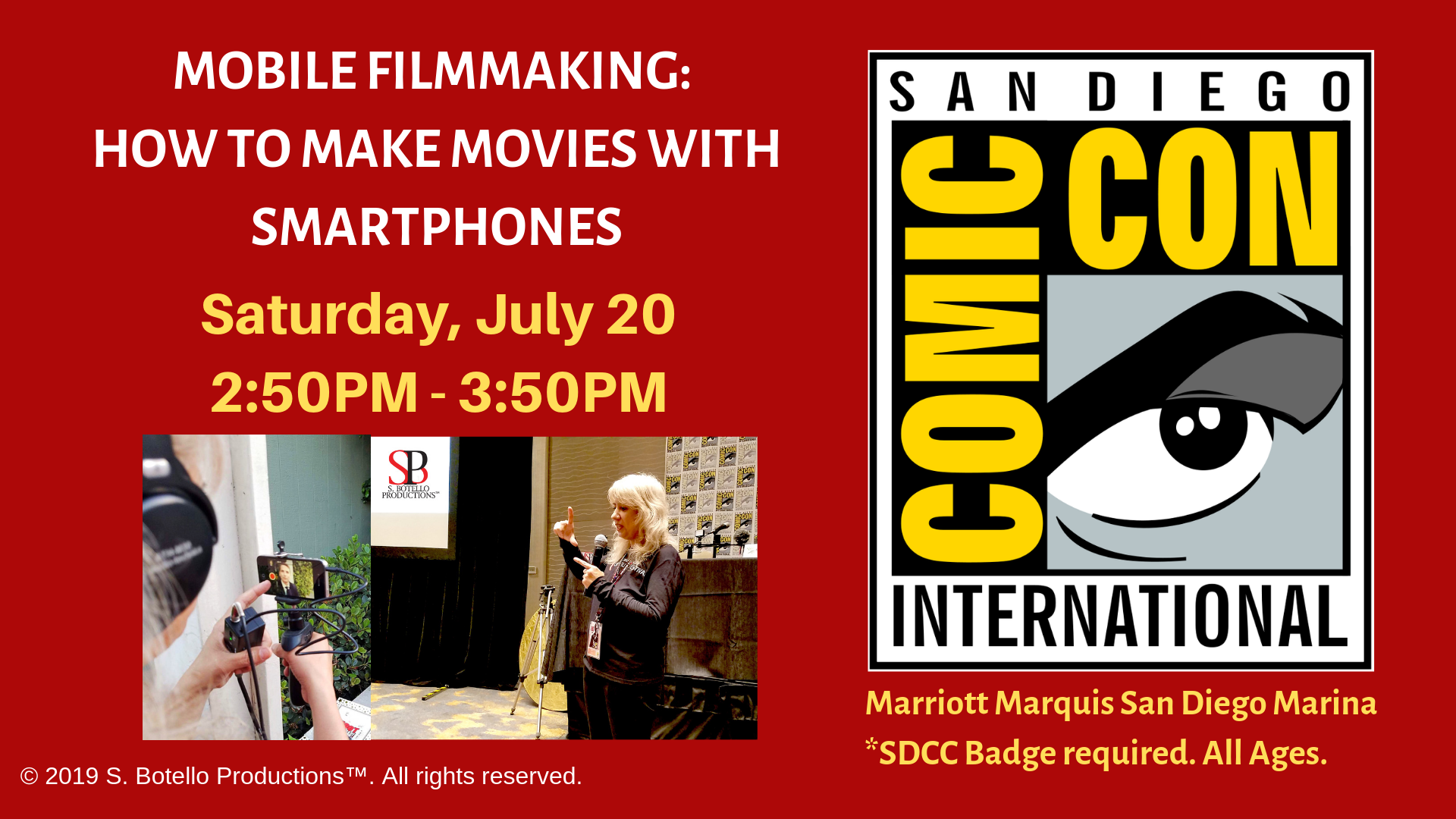 SDCC 2019 Mobile Filmmaking Panel date and time